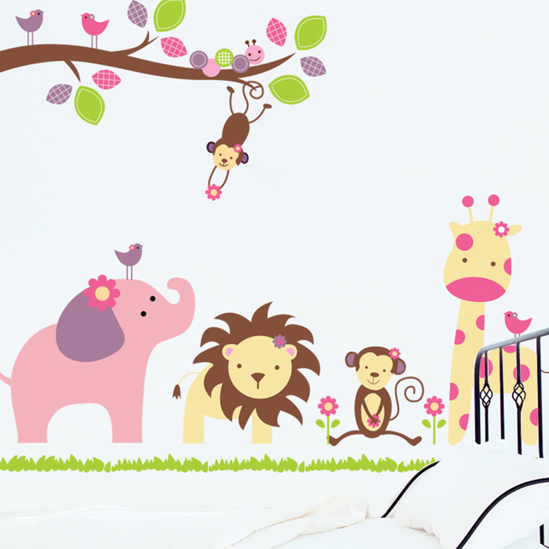 Waldtiere Giraffe Elefant Affe Lion Baum Wandaufkleber Fur Kinderzimmer Wandtattoo Kinderzimmer Dekor Poster Sticker For Kids Room Tree Wall Stickerwall Stickers For Kids Aliexpress