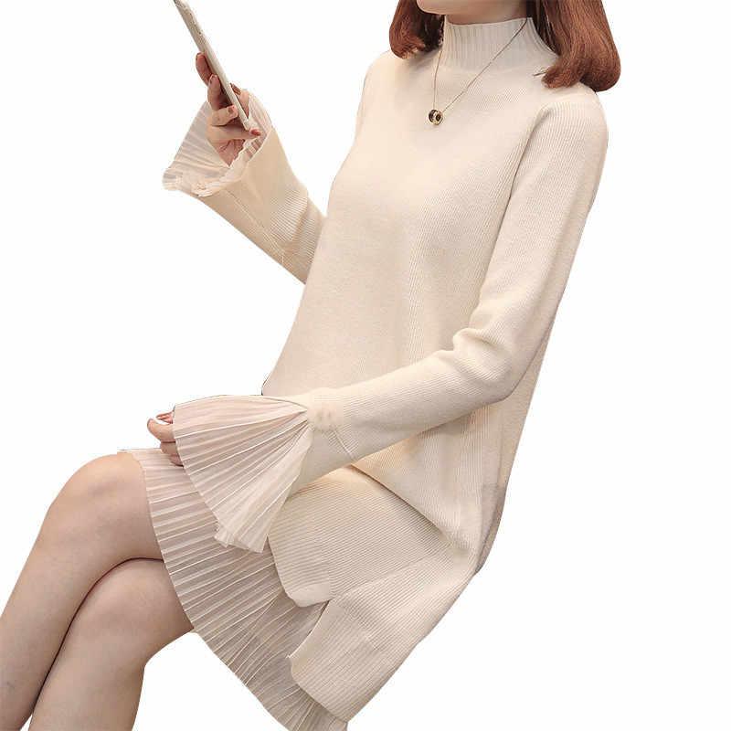 2019 Белый Зимний женский теплый свитер платья мягкий длинный рукав Тонкий Bodycon Теплое повседневное платье Сексуальное мини вязаное осеннее платье L79