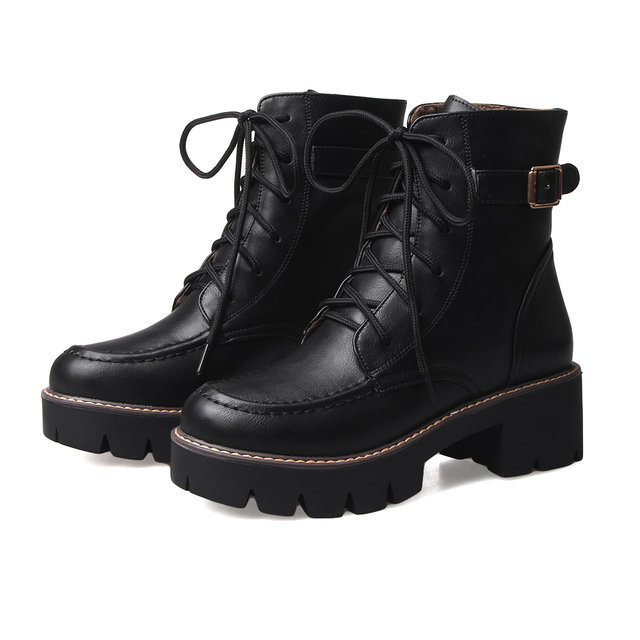 f37f892f6974 2017 New Winter Women Black High Heel Martin Boots Buckle Gothic Punk Ankle  Motorcycle Combat Boots Shoes B4501