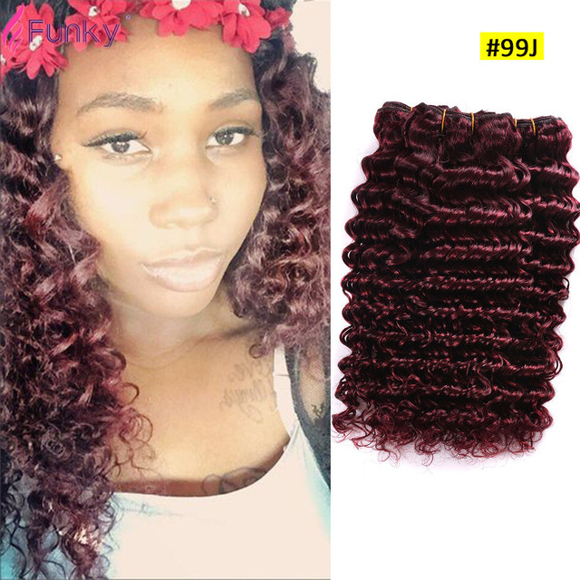 7a Brazilian Virgin Hair Deep Wave Red Human Hair Extensions