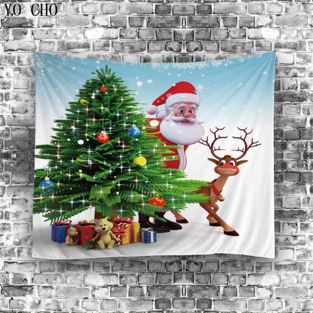 yo cho christmas decorations for home beach towel yoga blanket door cloth dog wall carpet santa