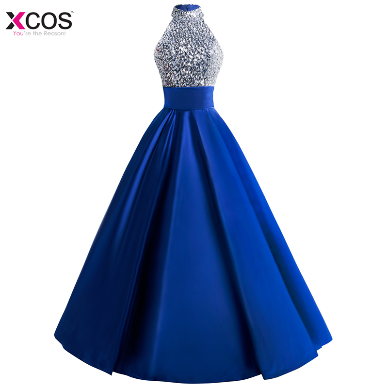Vestido de festa Formal Halter Crystal Beaded Evening Dresses Long 2018 Satin Keyhole Back Party Ball Gown Prom Evening Dress