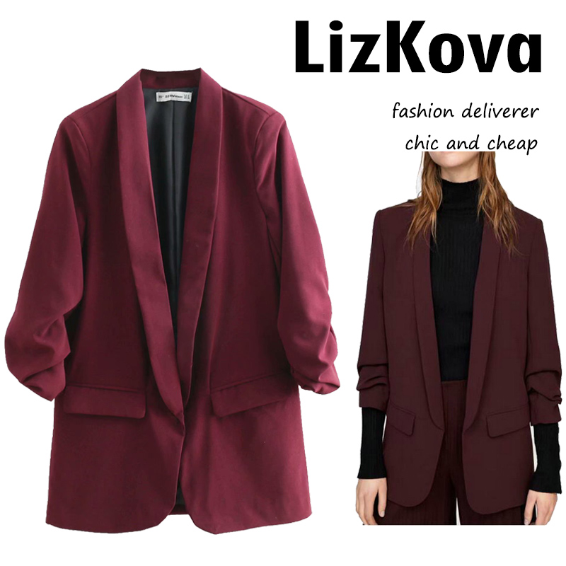2019 New Leisure Long Blazers Women Solid Color Jackets Office Lady Business Small Suit Fold Sleeve Notched Collar Blazers