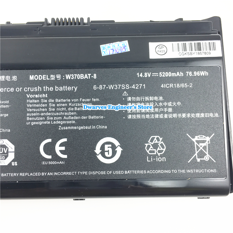 Image 4 - Original Rechargeable CLEVO W370BAT 8 Li ion Battery 6 87 W370S 4271 6 87 W37SS 427 K590S Laptop Battery 14.8V 5200mAh, 76.96Wh-in Laptop Batteries from Computer & Office