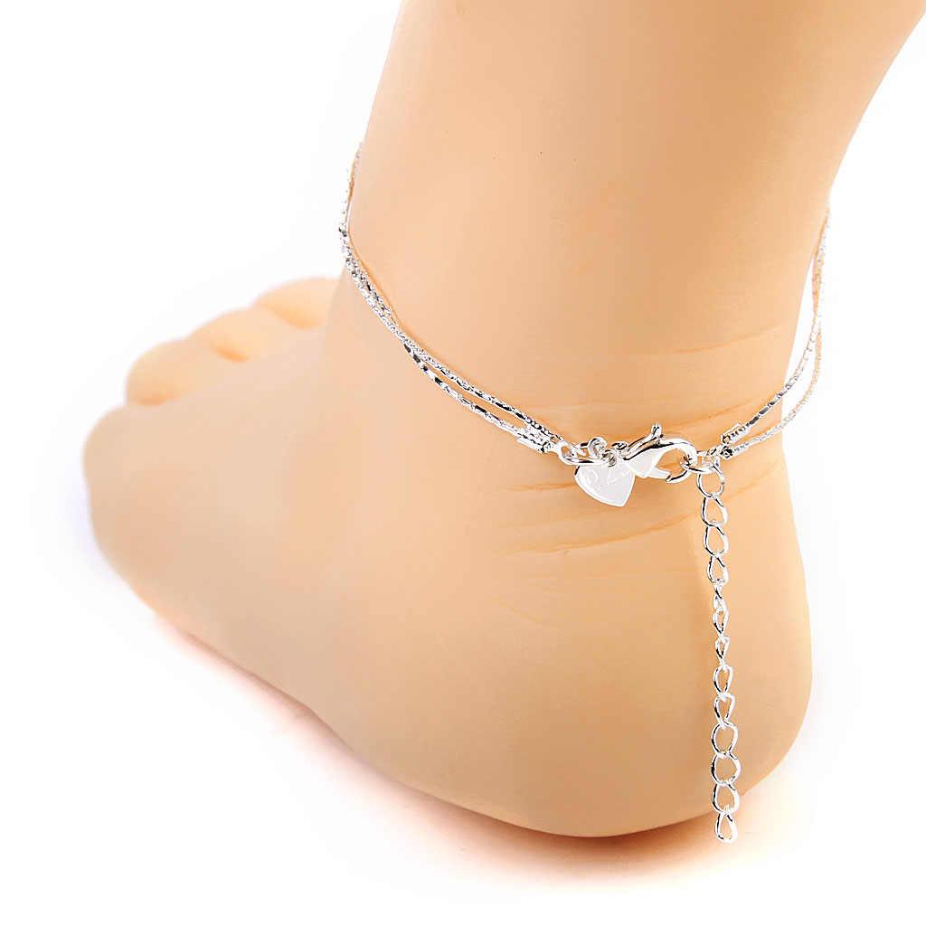 Gümüş Jingle Bell halhal ayak bileği yalınayak bilezik 2 katmanlı zincir noel hediye plaj