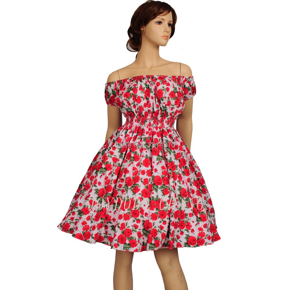 New Women 50s 60s Swing Vintage Rockabilly Dress Casual Ball Gown Polka Dot Printed Floral Party Prom Vestido Retro Dress
