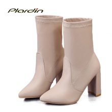 plardin New Winter Concise Warm Comfortable Keep warm Sewing Knight boots Women Shoes Pointed Toe square heel Woman Socks boots