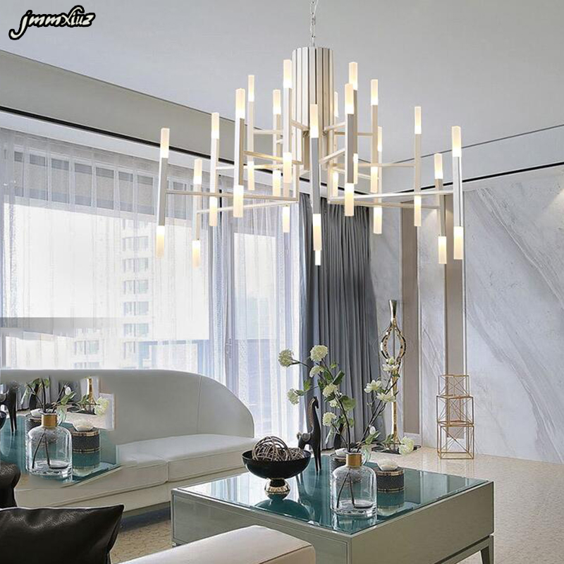 Nordic Postmodern LED Art Villa Chandelier Living Room Lobby Restaurant  Gold Chandelier Creative Personality Tube Lights In Chandeliers From Lights  ...