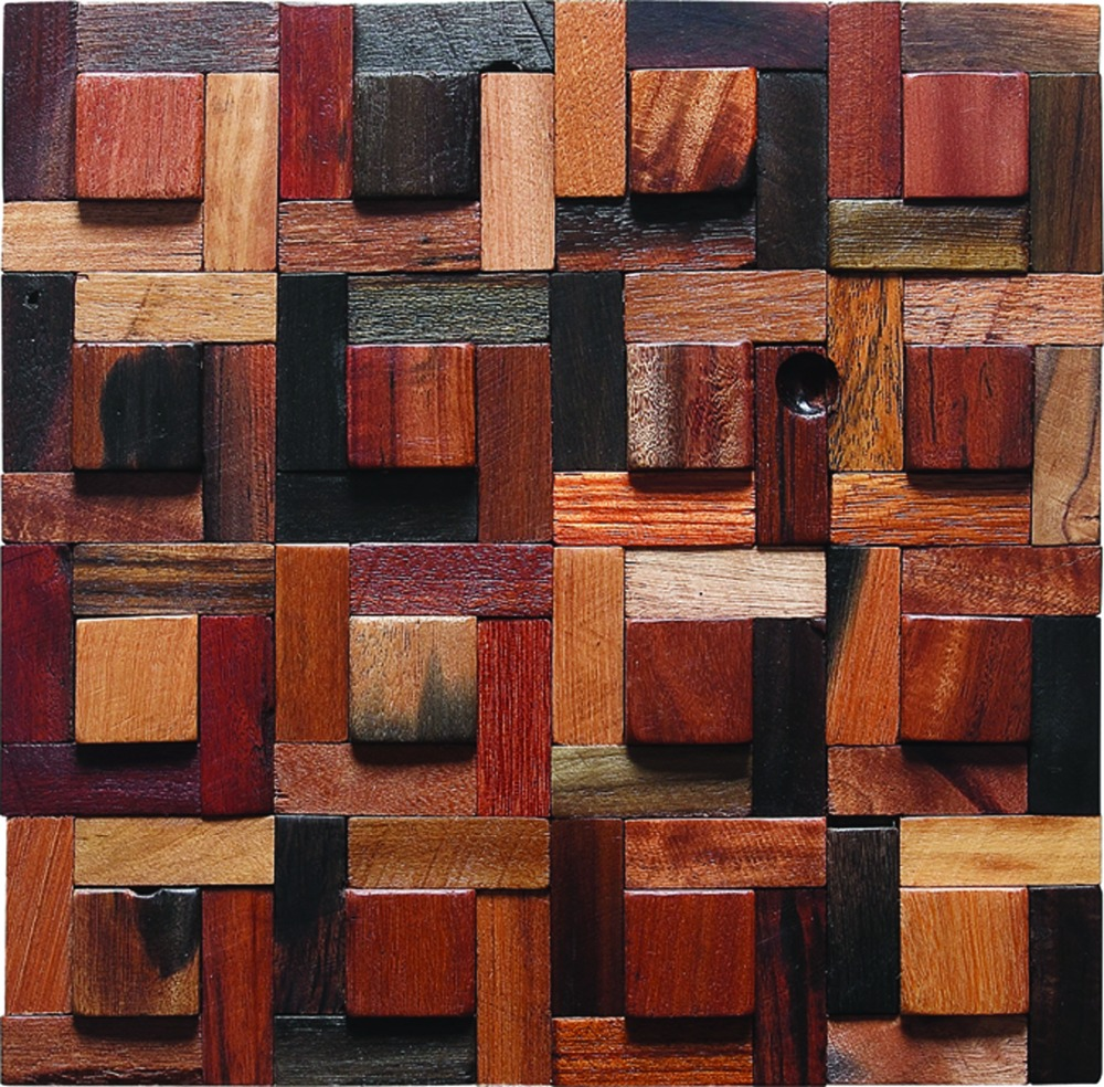 Colorful Kitchen Wall Art: Irregular Reclaimed Wood Wall Tiles Country Style Colorful