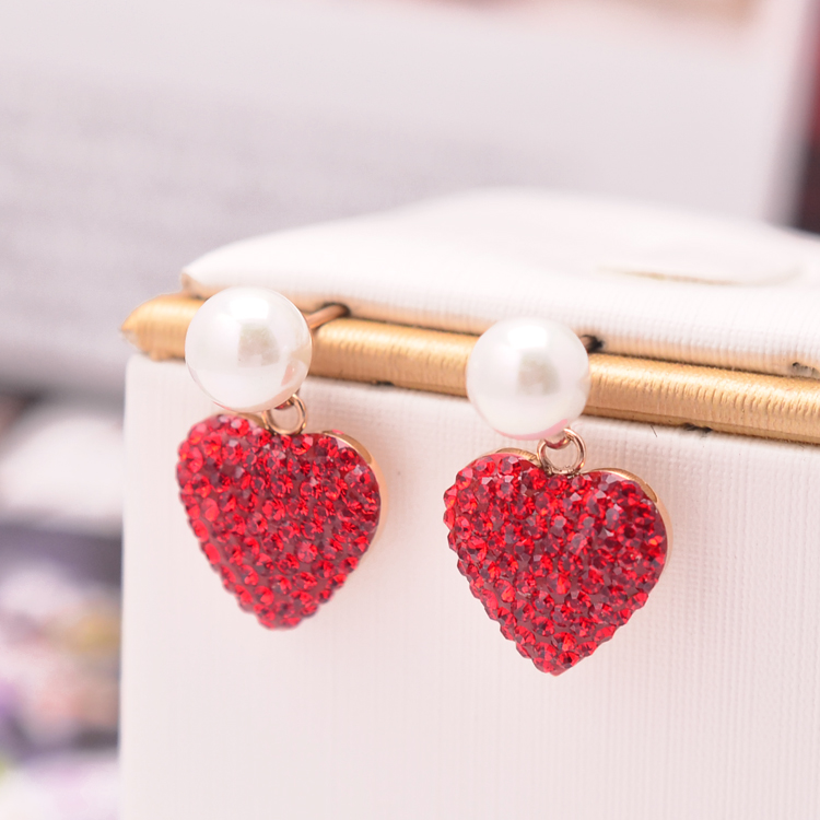 rose gold pearl red stone heart earring.support wholesale price jewelry supplier material jewelry set(China)