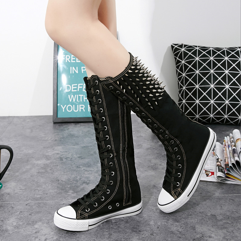 Spring Women s High Top Canvas Shoes with Zip Side Comfortable Female High Quality Girls Lace