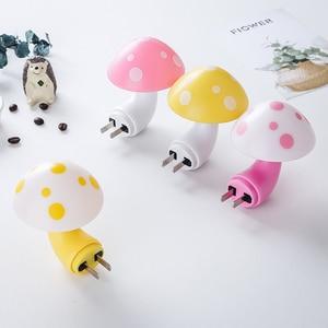 Image 1 - Mini Mushroom Baby Night light Automatic Sensor Light Control Lamp EU US Plug Child Kids Baby Room Led Lamp
