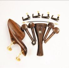Wholesale 2 Sets Natural Ebony Wood 4/4 Violin Accessories Chin Rest Golden Clamps Endpin Tuners