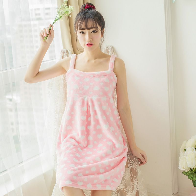 2019 Winter Female flannel fleece bathrobes Casual Solid Sexy Warm Pajamas Cute pink nightgown robe 102903