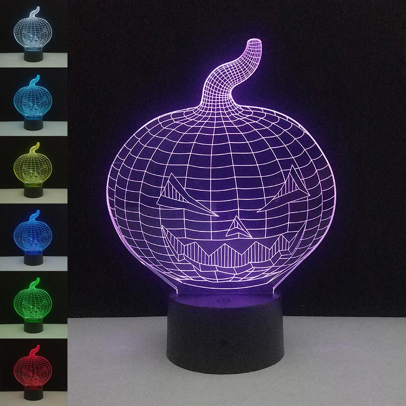 3D Pumpkin Nightlight 7 Colors Changing LED Touch Control Home Desktop DIY Decoration Creative New Year Birthday Gifts For Kids