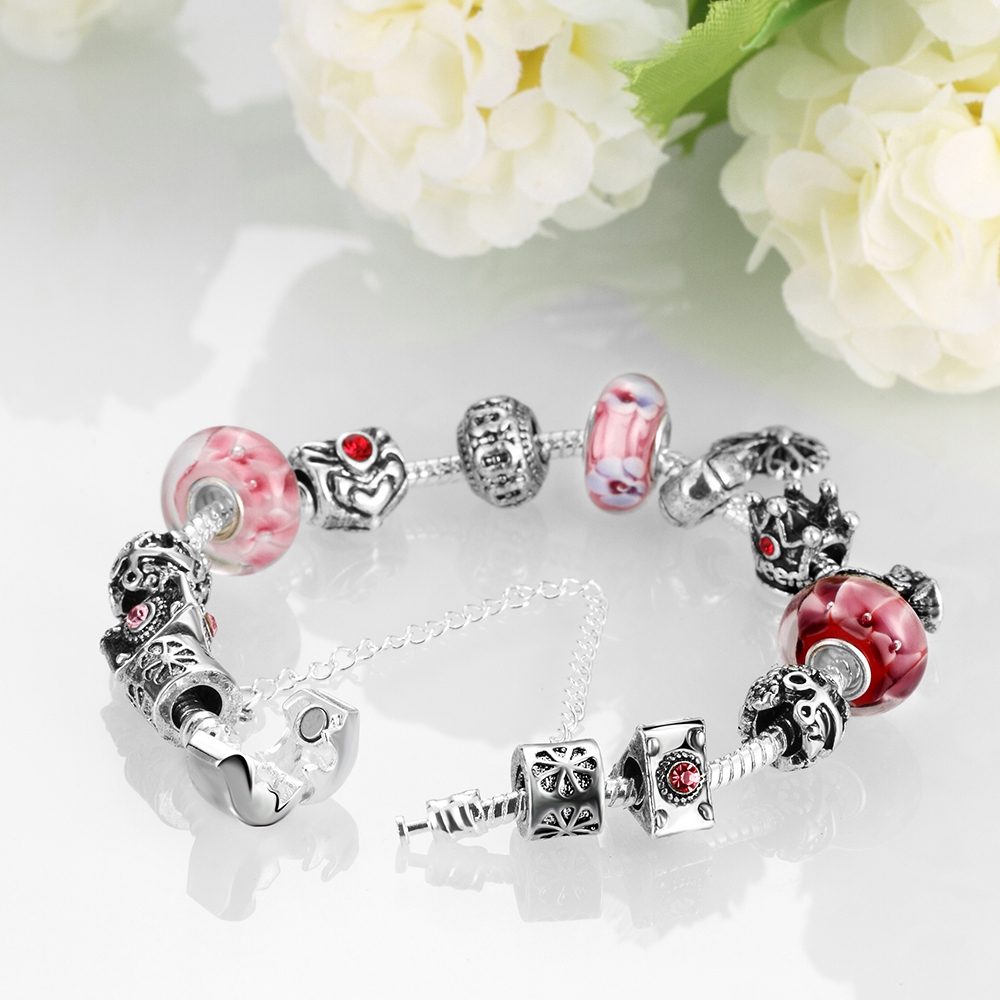 Aliexpress : Buy Qiming Silver Plated Pink Glass Crystal Beads Snake  Chain Heart Charm Bracelet For Women Teen Girls Vintage Love Jewelry From  Reliable