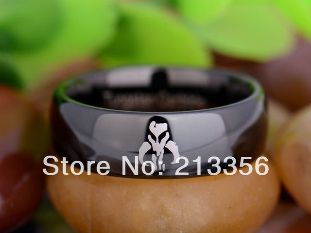 Free Shipping UK Russia Brazil USA Hot Selling 8MM Black Dome Star Wars Mandalorian Mens' Fashion Tungsten Carbide Wedding Ring