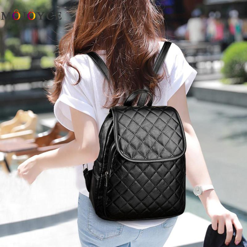 Classic Women Zipper Diamond Lattice Leather Backpacks Teenage Girls Travel Shoulder Back Pack Mochila Feminina #5