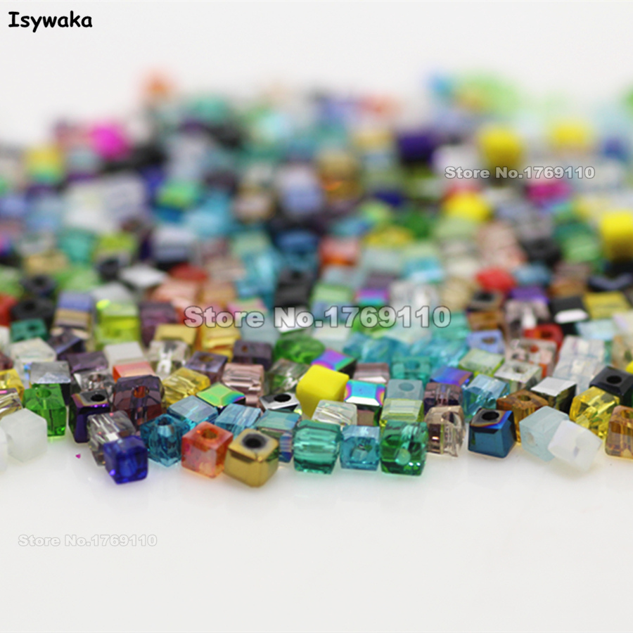 Isywaka 1980pcs Cube 2mm Mixed Color <font><b>Square</b></font> Austria Crystal Beads Charm Glass Beads Loose Spacer Bead DIY Jewelry Making