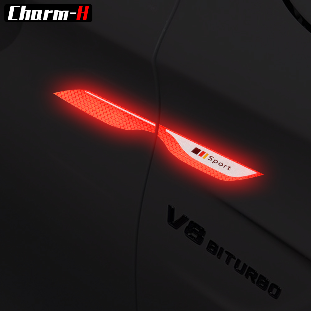 Reflective Strip Tape Marking AMG Sport Fender Side Emblem Badge Stickers for Mercedes Benz W211 W203 W204 W205 cla glc gla c e in Car Stickers from Automobiles Motorcycles