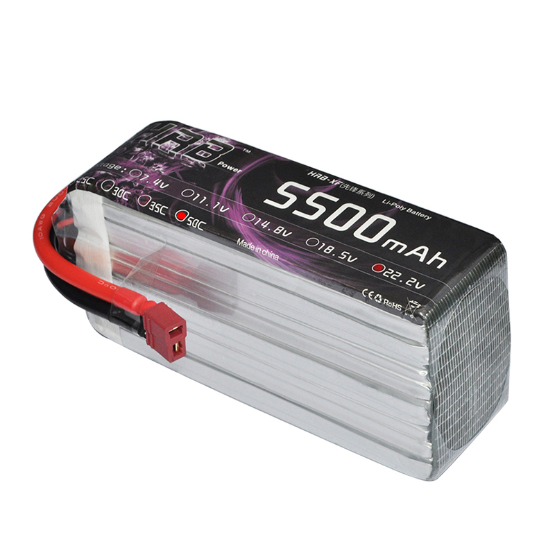 все цены на HRB High Rate Lipo 6s 22.2V 5500mah 50C Battery Max 100C XT60 Plug Rechargeable For RC Helicopters Drone AKKU Airplane Boat Car онлайн