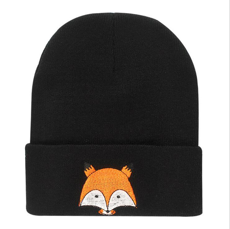 Unisex Children's Hat Cartoon Fox Printed Knitted Cap Winter Spring Kids Warm   Skullies     Beanies   Boys Girl Caps bonnet
