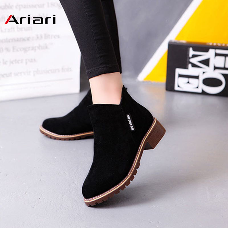 ariari Classic Ankle Boots Winter Female Snow Thick Heel