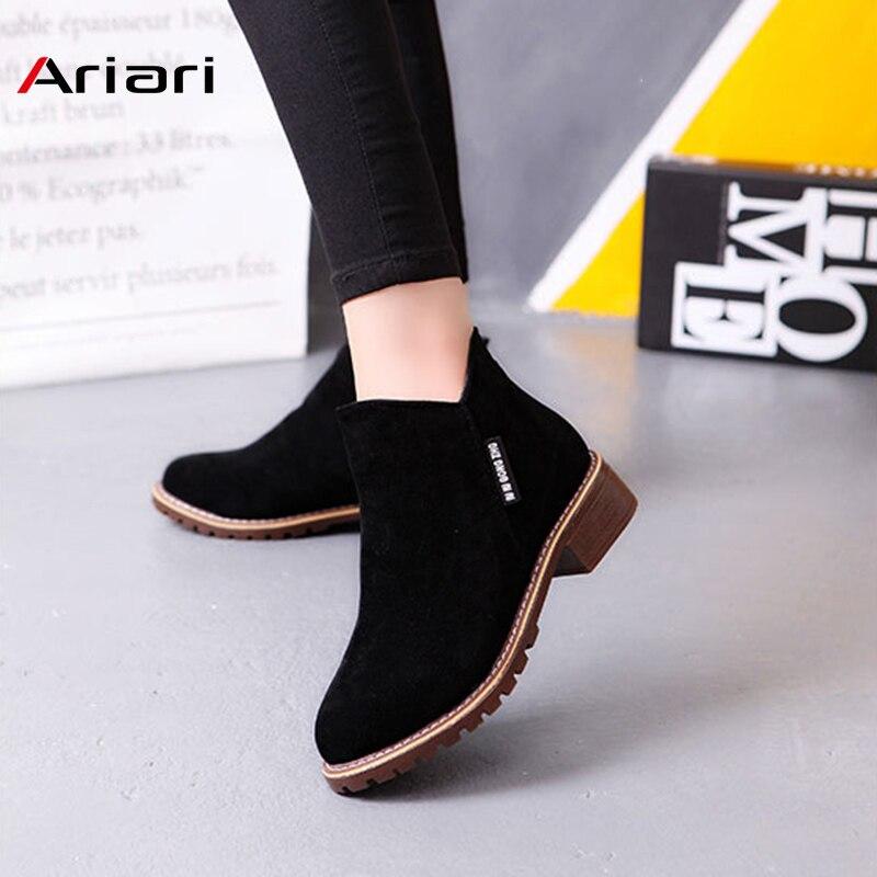 Nuevo clásico de tobillo para las mujeres botas de invierno mujer nieve de las mujeres casuales Zapatos de tacón grueso de cuero de piel de las mujeres zapatos de las mujeres botines