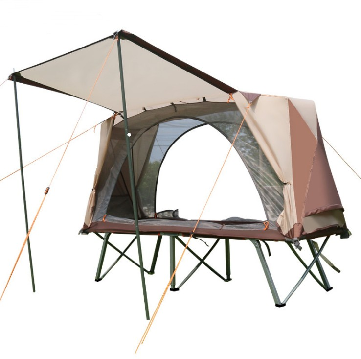 Off ground outdoor tent camping tent folding bed tent single Moisture proof rainproof fishing tent camp bed double layer rain proof double layer camping tent for outdoor activities green