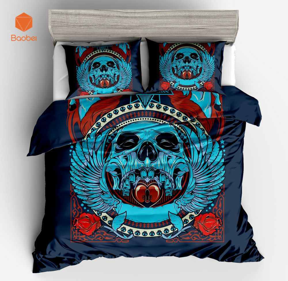 3Pcs Printed Skull Flowers Bedding Set Soft Polyester Twin Full King Queen Duvet Cover with pillowcases Quilt CoverSJ2083Pcs Printed Skull Flowers Bedding Set Soft Polyester Twin Full King Queen Duvet Cover with pillowcases Quilt CoverSJ208