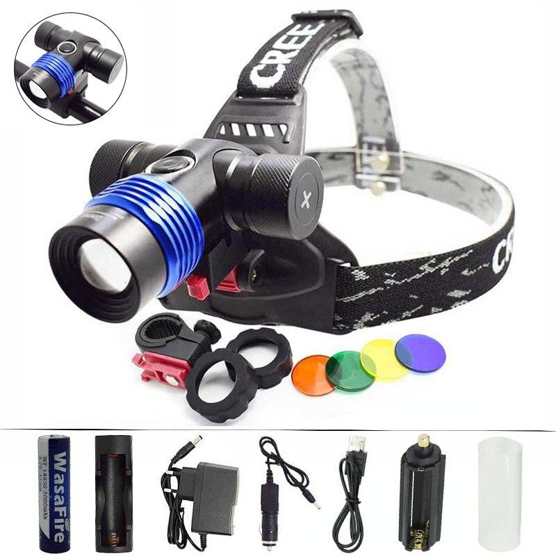 Zoom Bike Light XML T6 LED Headlamp Adjustable Focus Headlight +18650 Battery +AC/Car/USB Chargers +Red/Green/Blue/Yellow Filter sitemap 24 xml