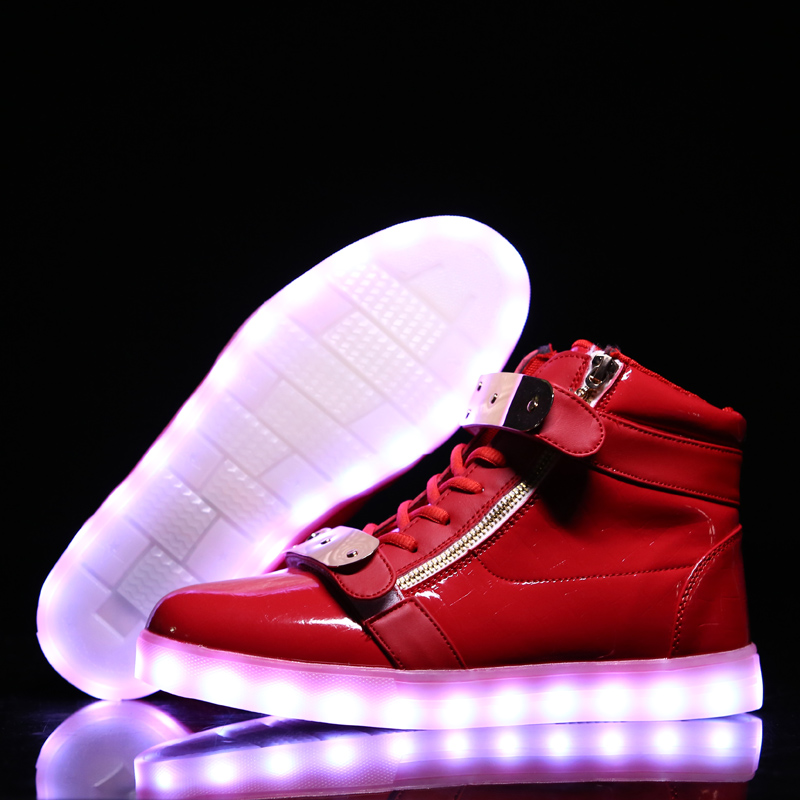 2016 New Led Light Shoes High Top Unisex Zip Casual Adult Light Up Luminous Tenis Fashion Usb Zapatillas Con Luces Glowing Shoe