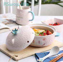 Cartoon Animal Ceramic Instant Noodle Bowl With Lid Bracket Household Tableware Binaural Soup Bowl Student Bowl For Tableware 5 6 8 inch japanese cherry blossom ceramic ramen bowl large instant noodle rice soup salad bowl container porcelain tableware