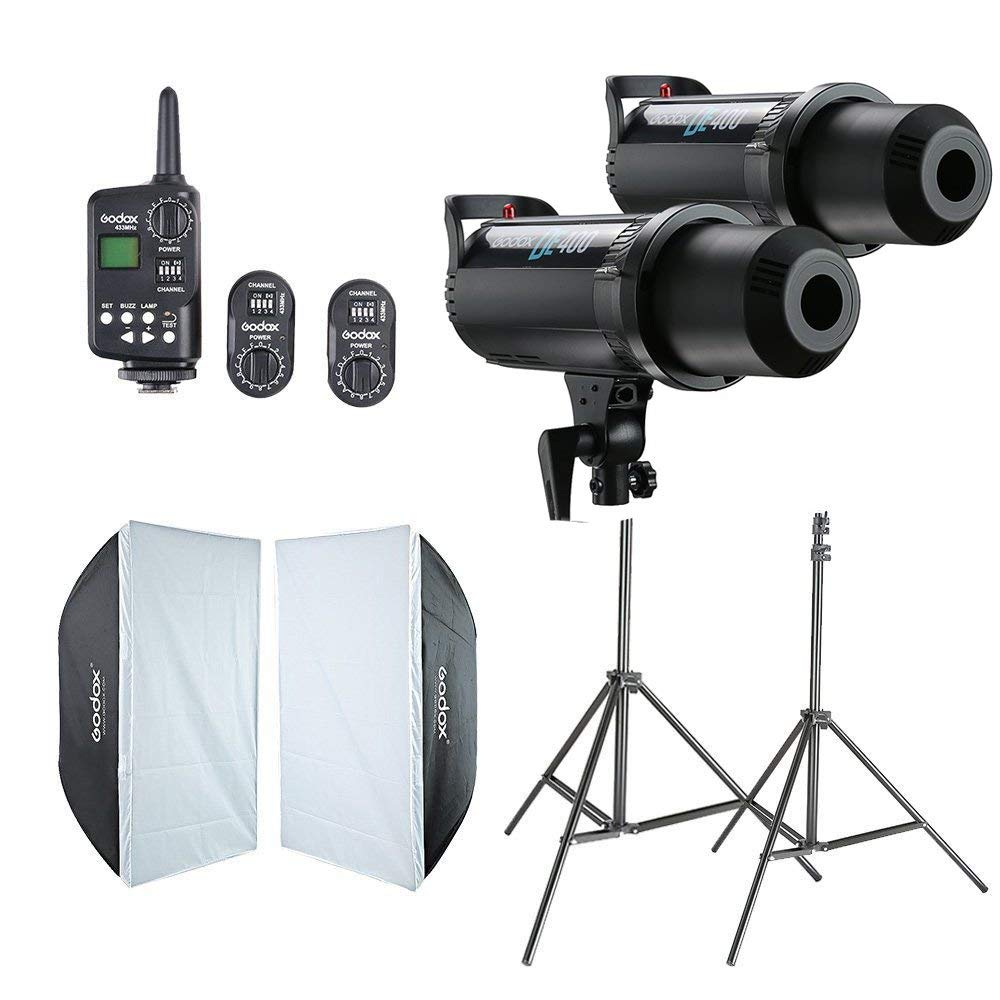 2x Godox DE400 Flash da Studio + 60x90 cm Softbox + FT-16 di Trigger + Light Stand Kit CD50