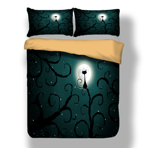 Image 5 - Wongs Bedding 3d Cat moon night Bedding set polyester Duvet Cover Bed Set Twin queen king size home textile