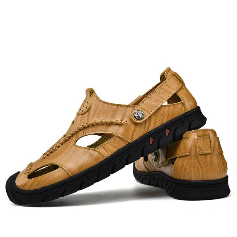 New Brand 100% Genuine Cow Leather Summer Soft Male Sandals Shoes For Men Breathable Beach Casual Quality Walking Sandal 2018