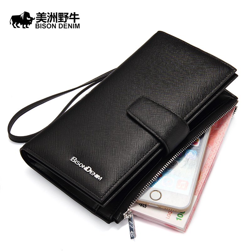2016 Men Genuine Leather High Quality Long Section Zipper Clutch Bag Designer Famous Brand Mens Large Capacity Wallet Handbag