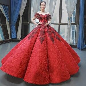 Image 2 - J66859 jancember inchado luxo vestido de noite 2019 querida vermelho frisado vestido de noiva vestidos vestido de noivado robe fiançaille