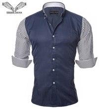 VISADA JAUNA 유럽 사이즈 남성 셔츠 패션 남성 셔츠 캐주얼 슬림 피트 스트라이프 긴팔 코튼 Camisa Masculina N87
