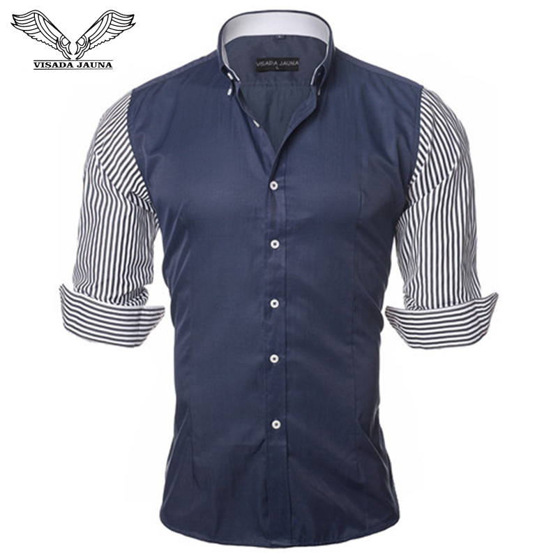 VISADA JAUNA Košile evropské velikosti Pánské košile Módní pánské košile pro volný čas Slim Fit Pruhované dlouhý rukáv Bavlna Camisa Masculina N87