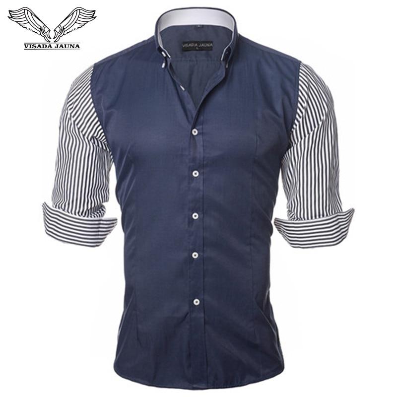VISADA JAUNA európai méretű férfi ing divat férfi ingek alkalmi Slim Fit csíkos hosszú ujjú pamut Camisa Masculina N87