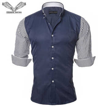 VISADA JAUNA European Size Men's Shirt Fashion Men's Shirts Casual Slim Fit Striped Long-sleeved Cotton Camisa Masculina N87 - DISCOUNT ITEM  48% OFF All Category