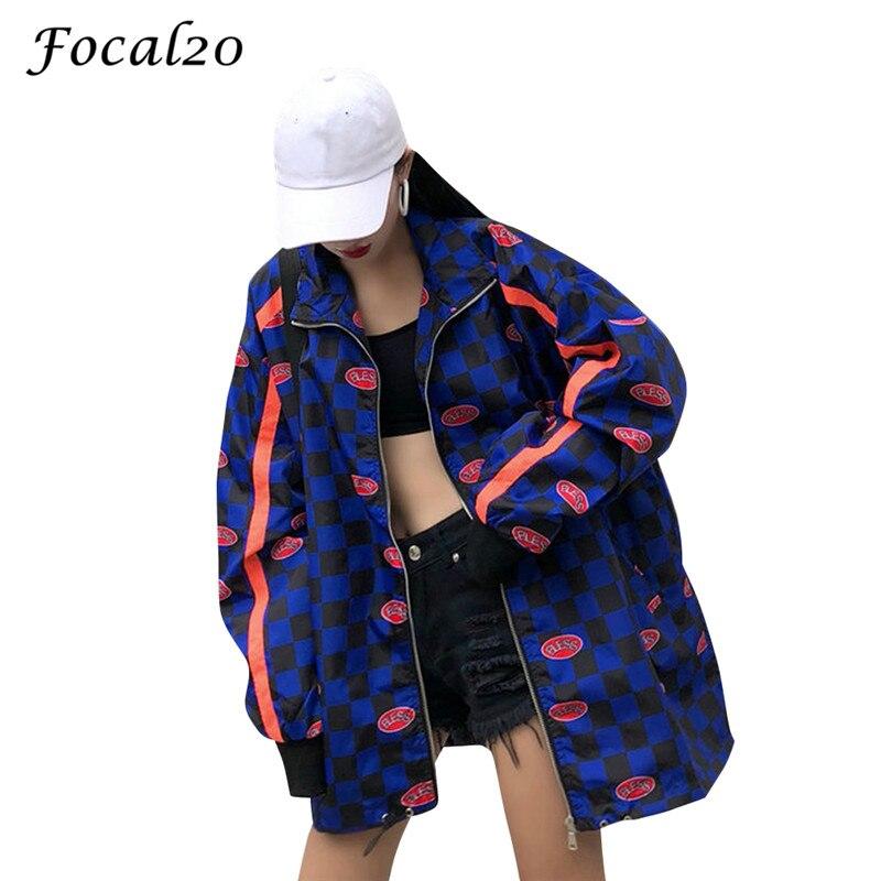 Focal20 Streetwear Letter Print Plaid Jacket Coat Women Spring Autumn Zipper Long Sleeve Checerboard Jacket Feminino Coats 1