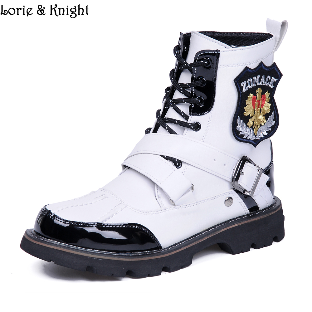 Fashion White Lace Up Casual Martin Men Boots Motorcycle Mid calf Boots Punk Combat Boots