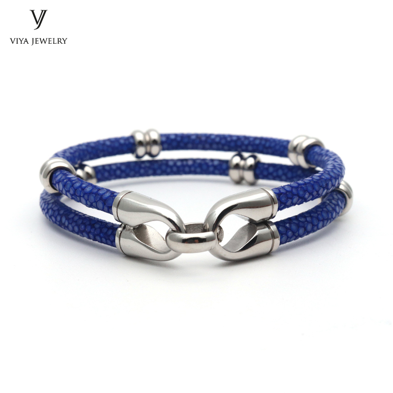 simple beads stingray leather bracelet for men ,couple stingray beads bracelets (7)