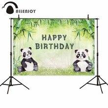 Allenjoy panda birthday party photography backdrop bamboo forest background photocall photo shoot prop studio photobooth custom