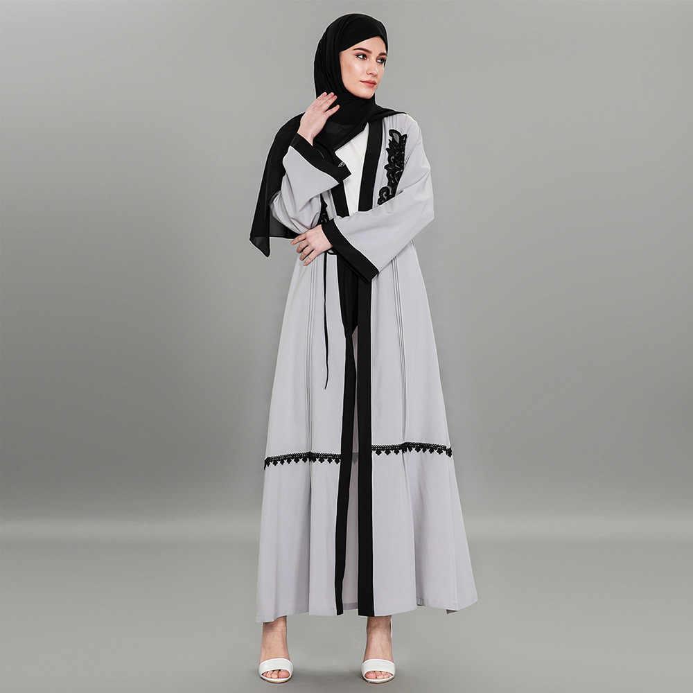 Высококачественный кардиган с вышивкой в Дубае, серое кимоно абайя, мусульманские длинные платья, большие размеры, макси верхняя одежда с поясом 1584