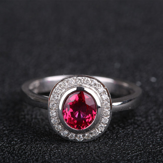 Robira Wholesale Red Ruby Wedding Engagement Rings For Women Au750