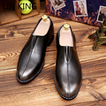LIN KING New Men Slip On Pointed Toe Ankle Shoes Low Top Soft Massage Business Leather Shoes Leisure Walking Flat Dress Shoes