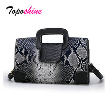 Toposhine 2019 Luxury Women Handbags Snake Print Designer Bags for PU Leather Brand Lady Shoulder Messenger Drop Ship